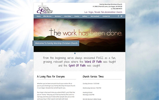 mobile vegas website designs - Family Worship Christian Church