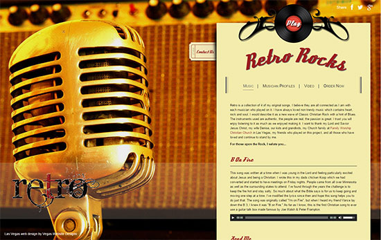 mobile vegas website designs - retro music rocks