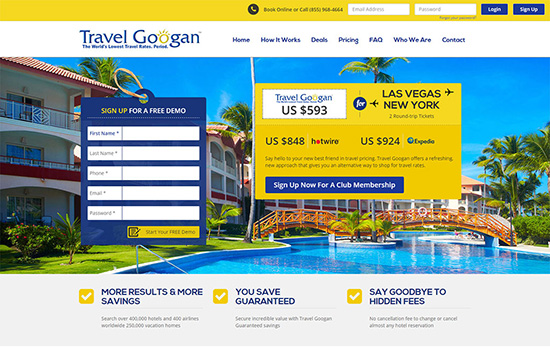 mobile travel googan vegas website designs