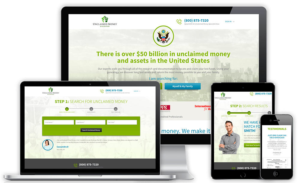 Unclaimed Money Discovery Web Design Project